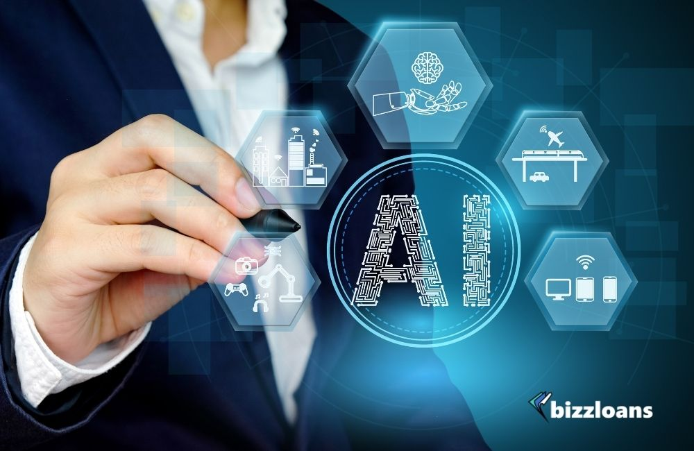 Business owner showing Artificial intelligence concept with related icon